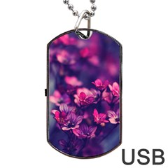 Blurry Flowers Dog Tag Usb Flash (one Side) by Brittlevirginclothing