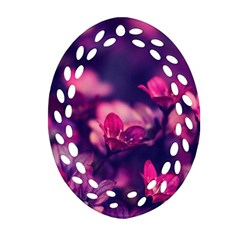 Blurry Flowers Oval Filigree Ornament (two Sides) by Brittlevirginclothing