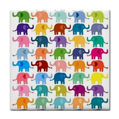 Cute Colorful Elephants Tile Coasters by Brittlevirginclothing