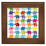 Cute colorful elephants Framed Tiles Front