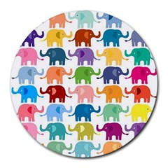 Cute Colorful Elephants Round Mousepads by Brittlevirginclothing
