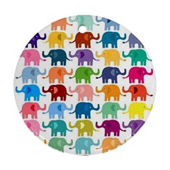 Cute Colorful Elephants Ornament (round) by Brittlevirginclothing
