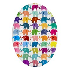 Cute Colorful Elephants Ornament (oval) by Brittlevirginclothing