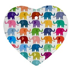 Cute Colorful Elephants Ornament (heart) by Brittlevirginclothing