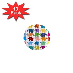 Cute Colorful Elephants 1  Mini Magnet (10 Pack)  by Brittlevirginclothing