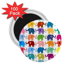 Cute Colorful Elephants 2 25  Magnets (100 Pack)  by Brittlevirginclothing