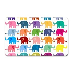 Cute Colorful Elephants Magnet (rectangular) by Brittlevirginclothing