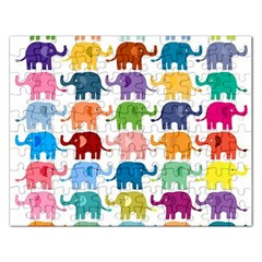 Cute Colorful Elephants Rectangular Jigsaw Puzzl by Brittlevirginclothing