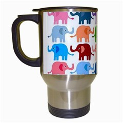 Cute Colorful Elephants Travel Mugs (white) by Brittlevirginclothing