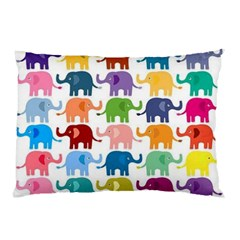 Cute Colorful Elephants Pillow Case by Brittlevirginclothing
