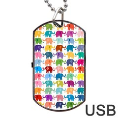 Cute Colorful Elephants Dog Tag Usb Flash (two Sides) by Brittlevirginclothing