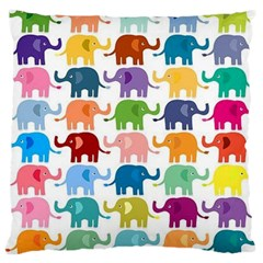 Cute Colorful Elephants Large Cushion Case (two Sides) by Brittlevirginclothing