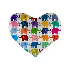 Cute Colorful Elephants Standard 16  Premium Heart Shape Cushions by Brittlevirginclothing