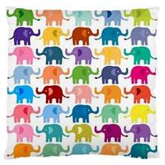 Cute Colorful Elephants Large Flano Cushion Case (one Side) by Brittlevirginclothing