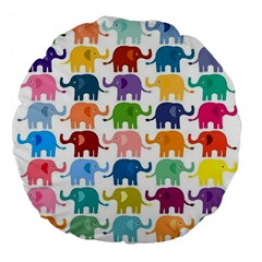 Cute Colorful Elephants Large 18  Premium Flano Round Cushions by Brittlevirginclothing