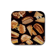 Delicious Snacks Rubber Square Coaster (4 Pack)  by Brittlevirginclothing