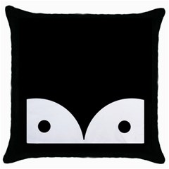 Cute Pinguin Throw Pillow Case (black) by Brittlevirginclothing
