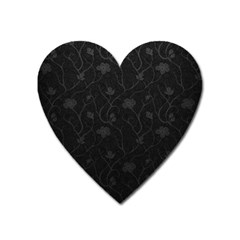 Dark Silvered Flower Heart Magnet by Brittlevirginclothing