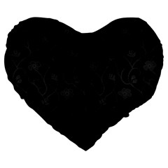 Dark Silvered Flower Large 19  Premium Flano Heart Shape Cushions by Brittlevirginclothing