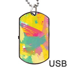 Paint Brush Dog Tag Usb Flash (one Side) by Brittlevirginclothing
