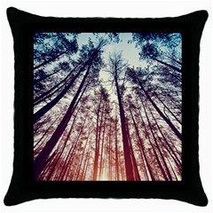 Up View Forest Throw Pillow Case (black) by Brittlevirginclothing