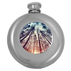 Up View Forest Round Hip Flask (5 Oz) by Brittlevirginclothing