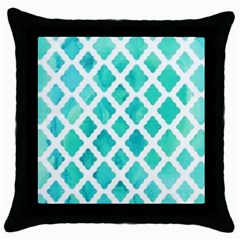 Blue Mosaic Throw Pillow Case (black) by Brittlevirginclothing