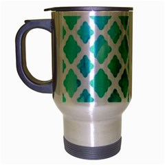 Blue Mosaic Travel Mug (silver Gray) by Brittlevirginclothing