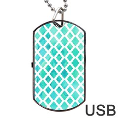 Blue Mosaic Dog Tag Usb Flash (two Sides) by Brittlevirginclothing