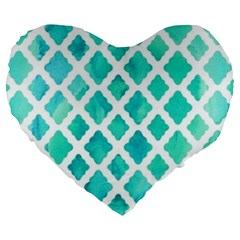 Blue Mosaic Large 19  Premium Heart Shape Cushions by Brittlevirginclothing