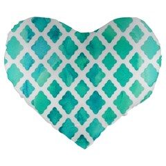 Blue Mosaic Large 19  Premium Flano Heart Shape Cushions by Brittlevirginclothing