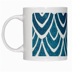 Blue Fish Scale White Mugs by Brittlevirginclothing