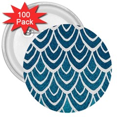Blue Fish Scale 3  Buttons (100 Pack)  by Brittlevirginclothing