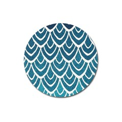 Blue Fish Scale Magnet 3  (round) by Brittlevirginclothing
