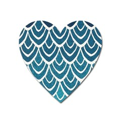 Blue Fish Scale Heart Magnet by Brittlevirginclothing