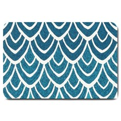 Blue Fish Scale Large Doormat  by Brittlevirginclothing