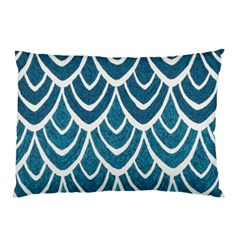 Blue Fish Scale Pillow Case (two Sides) by Brittlevirginclothing