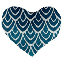 Blue Fish Scale Large 19  Premium Flano Heart Shape Cushions by Brittlevirginclothing