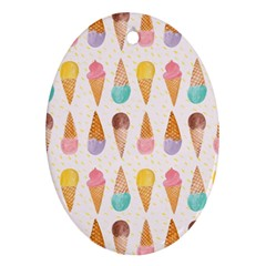 Cute Ice Cream Oval Ornament (two Sides) by Brittlevirginclothing
