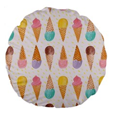 Cute Ice Cream Large 18  Premium Flano Round Cushions by Brittlevirginclothing