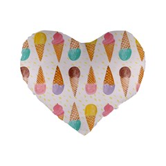 Cute Ice Cream Standard 16  Premium Flano Heart Shape Cushions by Brittlevirginclothing