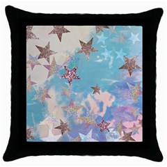 Pastel Stars Throw Pillow Case (black) by Brittlevirginclothing