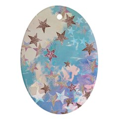 Pastel Stars Oval Ornament (two Sides) by Brittlevirginclothing