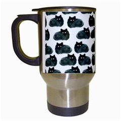 Black Cat Travel Mugs (white) by Brittlevirginclothing