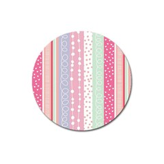 Pink Wood Magnet 3  (round) by Brittlevirginclothing