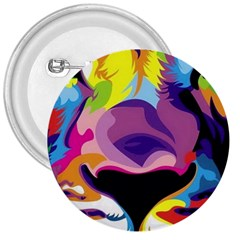 Colorful Lion 3  Buttons by Brittlevirginclothing