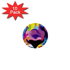 Colorful Lion 1  Mini Buttons (10 Pack)  by Brittlevirginclothing