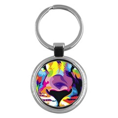 Colorful Lion Key Chains (round)  by Brittlevirginclothing