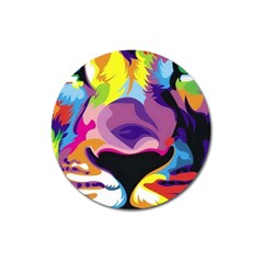 Colorful Lion Magnet 3  (round) by Brittlevirginclothing