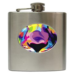 Colorful Lion Hip Flask (6 Oz) by Brittlevirginclothing